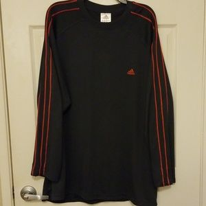 Adidas long sleeve shirt, dark gray and red stripe